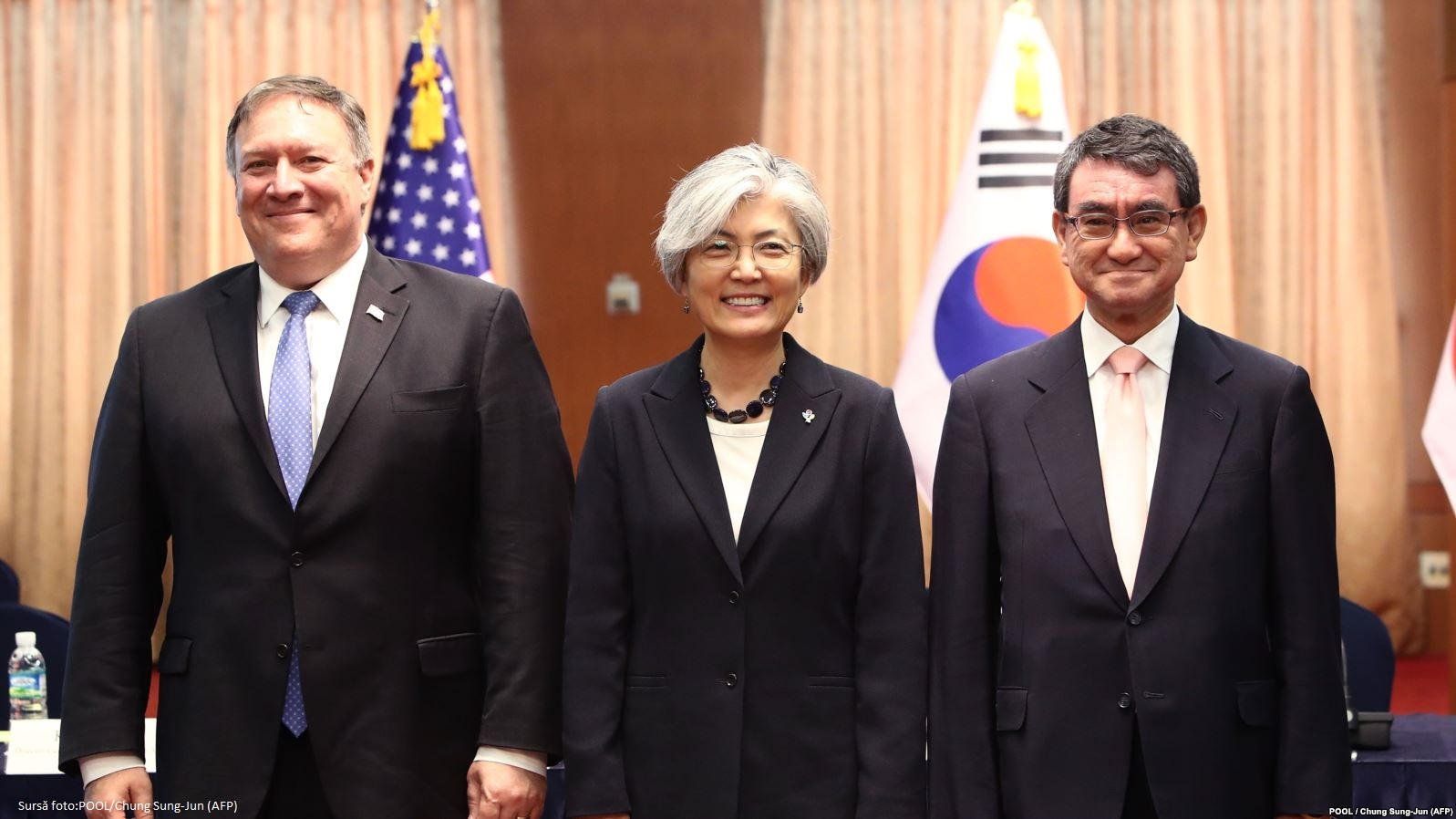 Șefii diplomațiilor din Statele Unite, Japonia si Coreea de Sud vor colabora pentru a se asigura că autoritățile din Coreea de Nord renunță la programul lor nuclear