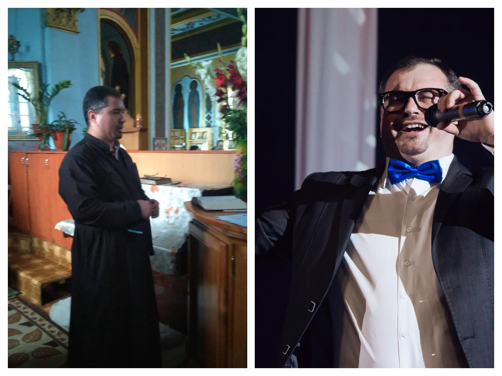 Ziua preot în biserică, seara, cântăreț pe scenă. Hirotonit diacon, Mihai Bîcu n-a abandonat scena