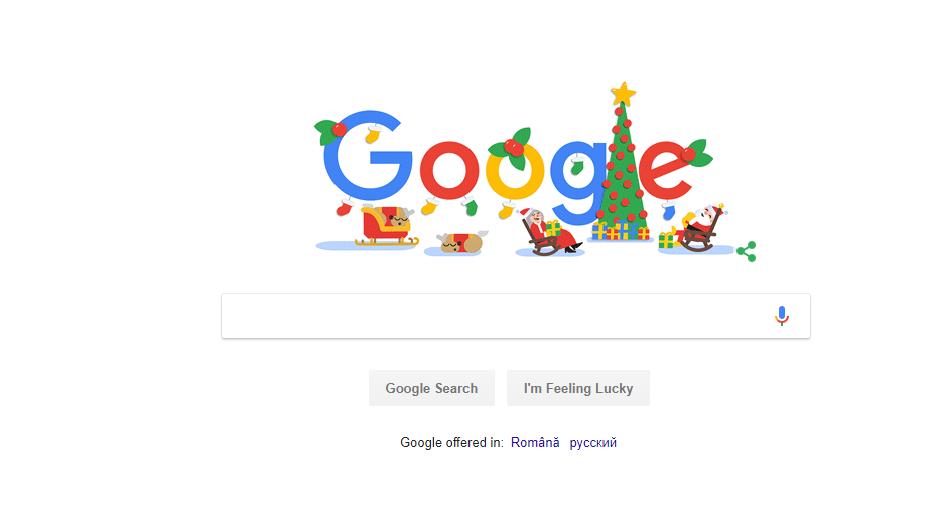 Google își schimbă interfața în spiritul Crăciunului