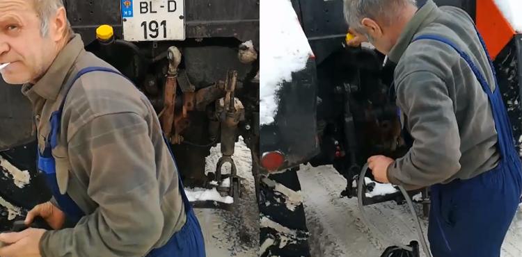 """Un angajat al S.A. """"Drumuri Bălți"""", surprins cum fură combustibil din tehnica de deszăpezire"""