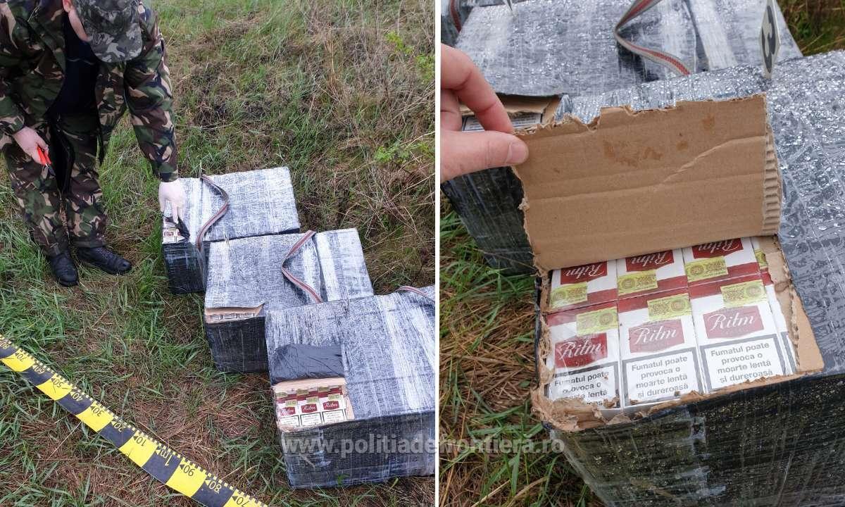 FOTO | Un lot impresionant de țigări a fost capturat de polițiștii de frontieră români