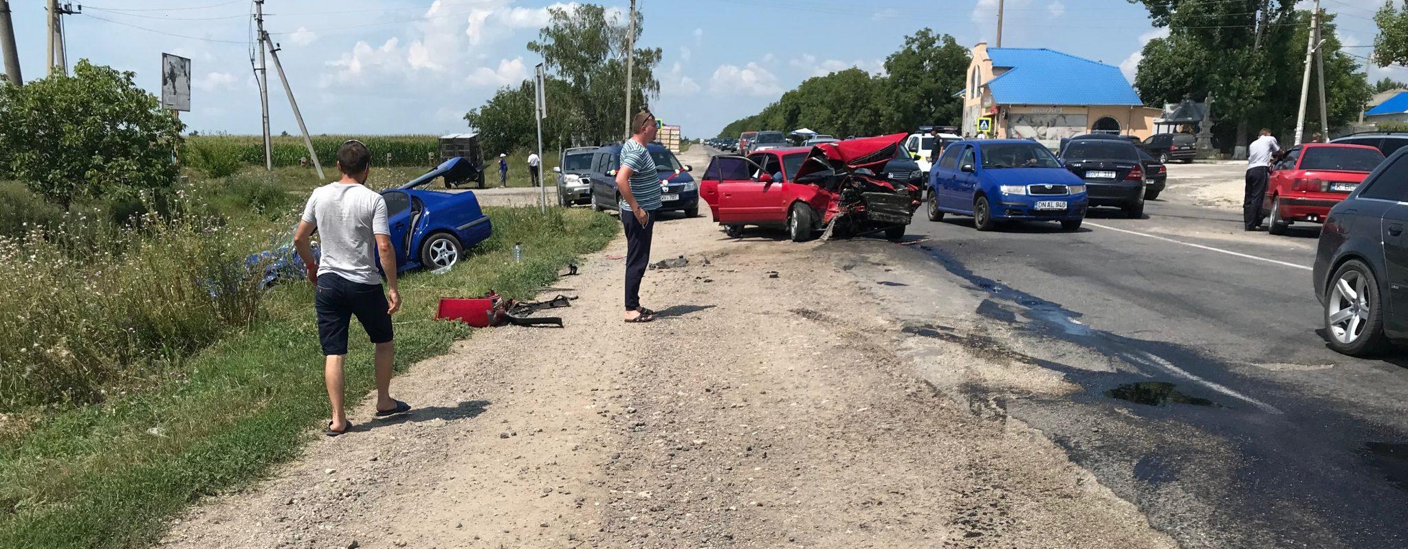 VIDEO | Momentul accidentului în lanț din raionul Rîșcani în care a avut de suferit o persoană