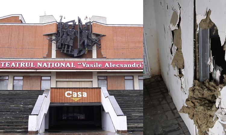 VIDEO   Teatrul Național din Bălți, vandalizat. Tinerii beau și fumează la parter, unde a fost ridicată o construcția samovolnică