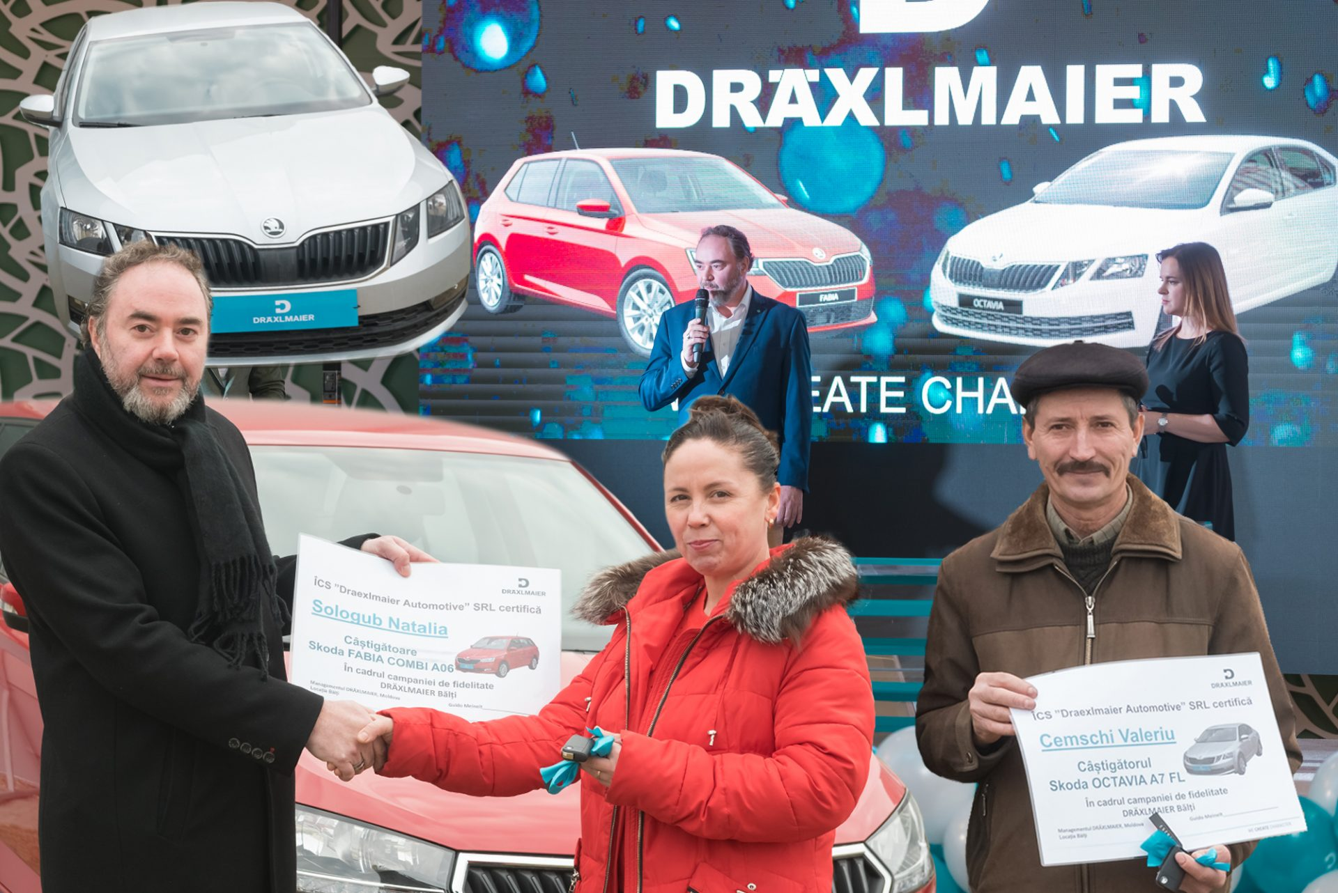 FOTO | Doi angajați ai companiei DRÄXLMAIER Bălți au câștigat două automobile Skoda