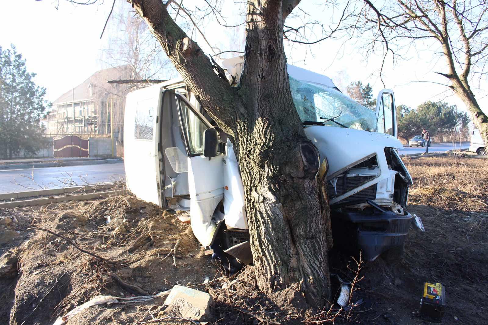 FOTO | Un șofer a ajuns cu microbuzul în copac, în apropiere de Bălți. Salvatorii au scos victima dintre fiarele mașinii